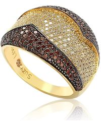 Suzy Levian - Goldplated Sterling Silver Red And White Cubic Zirconia Anniversary Ring - Lyst