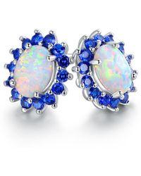 Peermont - 18k White Gold Plated White Fire Opal & Genuine Blue Spinel Flower Stud Earrings - Lyst