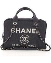 Chanel - Pre Owned Deauville Bowling Bag Denim Large - Lyst