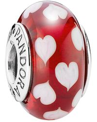 PANDORA - Silver Murano Glass Red Sweet Hearts Charm - Lyst