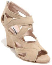 Miu Miu - Women's 5x9116lrgf0036 Beige Suede Sandals - Lyst