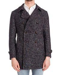 Tagliatore - Men's Blue/brown Wool Coat - Lyst