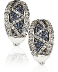 Suzy Levian | Sapphire And Diamond In Sterling Silver And 18k Gold Earring | Lyst