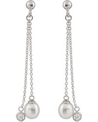 Splendid - Dangling Double Silver Earrings With Cz And Freshwater Pearls - Lyst