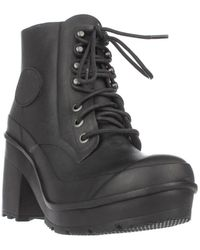 HUNTER - Original Block Heel Lace Up Rainboots, Black - Lyst