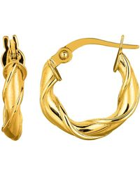 Jewelry Affairs - 14k Yellow Gold Round Type Twisted Hoop Earrings, Diameter 15mm - Lyst