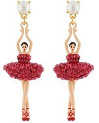 Les Nereides - Luxury Pas De Deux Toe-dancing Ballerina With Indian Pink Crystals Earrings - Lyst