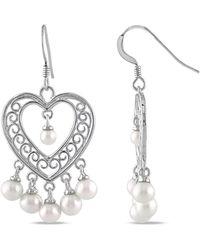 Catherine Malandrino - White Freshwater Cultured Pearl Chandelier Heart Earrings - Lyst