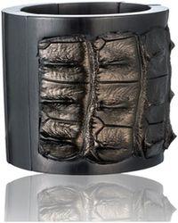 Nada Sawaya - Stretch Wood Bracelet Wood Croco Metallic Petrolio - Lyst