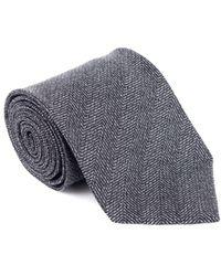 Tom Ford - Mens Grey Pure Wool Tonal Herringbone Wide Tie - Lyst