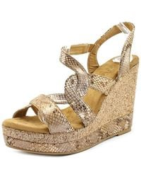 Very Volatile | Katie Open Toe Synthetic Wedge Sandal | Lyst