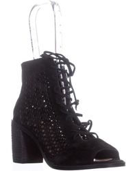 Vince Camuto - Trevan Cutout Lace Up Ankle Boots, Black - Lyst