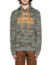 Alpha Industries - Men's Green Cotton Sweatshirt - Lyst