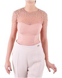 Elisabetta Franchi - Women's Pink Polyamide Jumper - Lyst