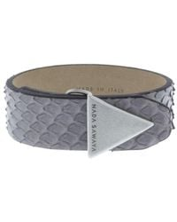 Nada Sawaya - The Simple - Python And Satin Black Nickel-tone Bracelet - Lyst