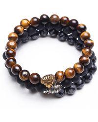 Something Strong - Bundle Of 3 Beaded Zinc Alloy Lion Bracelets - Multi Colour - Lyst