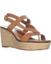 Lucky Brand - Naturale Wedge Sandals, Dark Camel Combo - Lyst