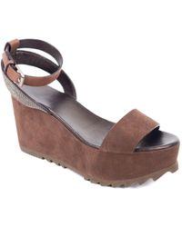 Brunello Cucinelli - Leather Monili-trimmed Wedge Sandals - Lyst