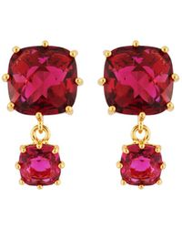 Les Nereides - La Diamantine 2 Grenadine Square Stones Earrings - Lyst