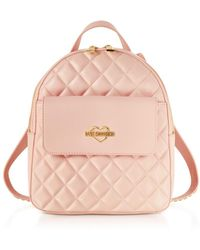 Love Moschino - Women's Pink Leather Backpack - Lyst