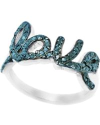 Barzel - Sterling Silver 0.55cttw Love Genuine Blue Diamond Ring - Lyst