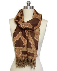 Saachi - Woven Cutout Brown Wool Blend Scarf - Lyst