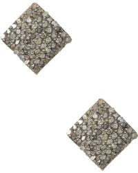 Adornia - Champagne Diamond And Sterling Silver Ethel Square Stud Earrings - Lyst