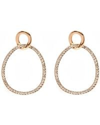 Peermont - Gold And White Swarovski Elements Circle Drop Earrings - Lyst