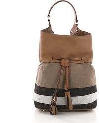 bebd284bf8ec Burberry - Pre Owned Ashby Drawstring Handbag House Check Canvas With  Leather Large - Lyst