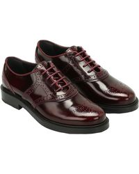 Tod's - Women's Burgundy Leather Lace-up Shoes - Lyst