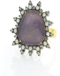 Socheec - Sapphire And Pearl Cocktail Ring - Lyst