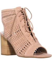 Steve Madden - Gavell Lace Up Heeled Sandals, Camel Suede - Lyst