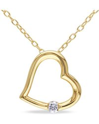 Catherine Malandrino - Diamond Heart Pendant With Chain - Lyst