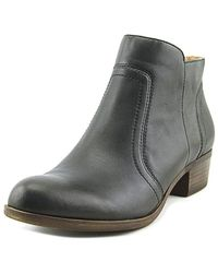 Lucky Brand - Breck Women Round Toe Leather Black Bootie - Lyst