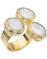 Jewelista - 18k Gold Plate & Pearl Floating Ring - Lyst