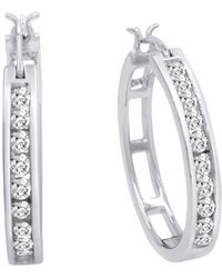 Amanda Rose Collection - Ags Certified 1ct Tw Diamond Hoop Earrings In 10k Yellow Or White Gold - Lyst