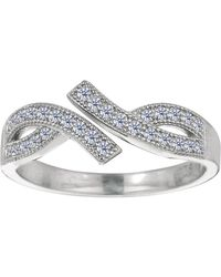 Jewelry Affairs - Sterling Silver Micropave With Cz By Pass Style Adjustable Toe Ring - Lyst