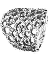 PANDORA - Shimmering Lace Silver Cz Ring - Lyst