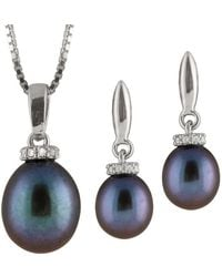 Splendid - Cz And Pearl Pendant & Earring Set - Lyst