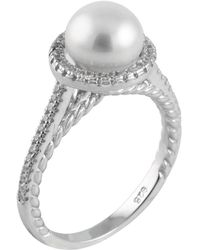 Splendid - Sterling Silver Halo Pearl Ring Set In Sterling Silver - Lyst