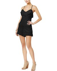 Guess - Vita Mixed Lace Ruffled Romper - Lyst