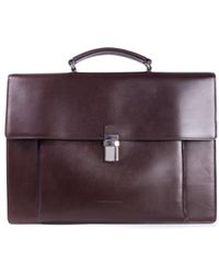 Brunello Cucinelli - Mens Classic Large Brown Leather Briefcase - Lyst