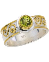 Jewelista - Sterling Silver Scroll Ring With Peridot - Lyst