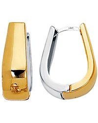 Jewelry Affairs - 14k 2 Tone Gold Snuggable Huggie Reversible Earrings - Lyst