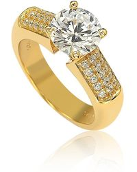 Suzy Levian - Gold Over Sterling Silver Cubic Zirconia Engagement Ring - Lyst