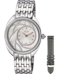 Gv2 - Ancona Steel Case And Bracelet With Spare Grey Leather Strap - Lyst