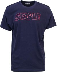 Staple - Men's Blue Cotton T-shirt - Lyst