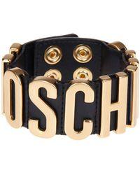 Moschino - Women's Black Leather Bracelet - Lyst