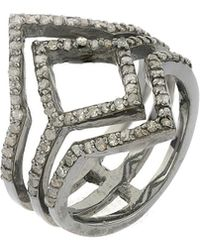Adornia - Diamond And Sterling Silver Deco Ring - Lyst