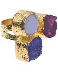 Jewelista - 18k Gold Plate, Druzy & Chalcedony Floating Ring - Lyst